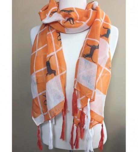 Orange Squares Fringe Tassel Lightweight in Fashion Scarves