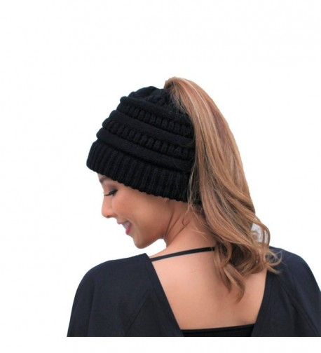 After2 Warm Ponytail Beanie For Women Cute Cable Knit Winter Hat - Black - CK189I99ASW