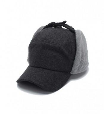 SUMBAGO Women's Ushanka Earflaps Flat Cap Winter Woolen Harajuku Bomber Trapper Russian Hats - Dark Gray - C4188XT3OXY