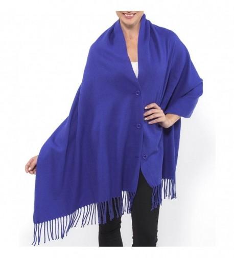 Alpine Swiss Women's Pashmina Button Up Shawl Cape Poncho Blanket Scarf Wrap - Blue - CN1284AERYN