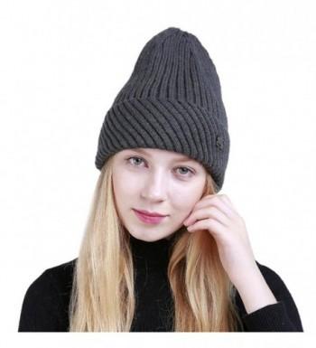 Hunputa Womens Hat Winter- Women Warm Winter Thick Crochet Knit Wool Ski Caps Lined Beanie Hat Skull Cap - Gray - CR188RRLXAU
