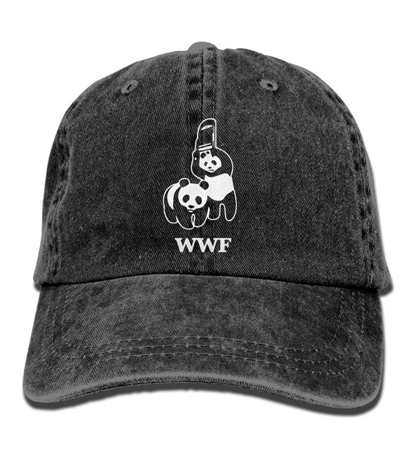 WWF Panda Bear Wrestling Unisex Cotton Denim Adjustable Cowboy Cap - Black - C6187HX9DRK