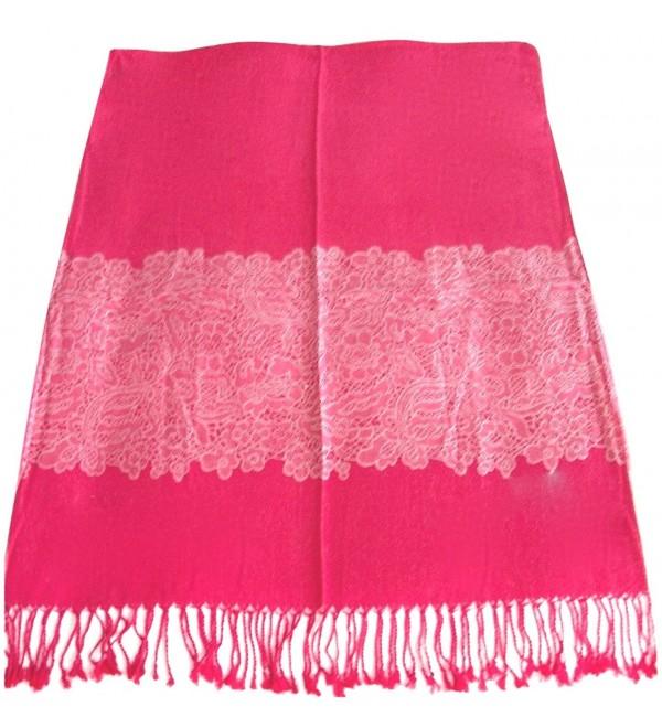 French Lace Design Pashmina Shawl Scarf Wrap Pashminas Shawls Scarves Wraps NEW - Hot Pink - CV11YPJLVJN