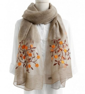 WS Natural Silk Wool Scarf / Shawl / Wrap /Sheer For Women Scarves And Wraps With Gift Packaging - Khaki Flower - CY1893AQQ39