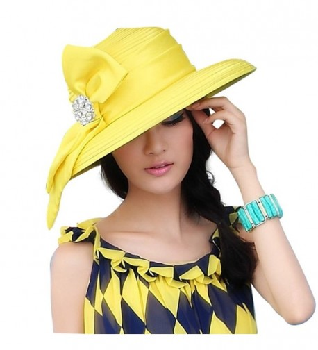 June's Young Women Hats for Church Tea Party Fashion Hats 2 Colors - Yellow - CS11OI9SNBT