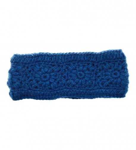 Hand Knit Winter Ear Muff Warmer Headband Wool Fleece Lined - Teal - CQ1886A8GS7