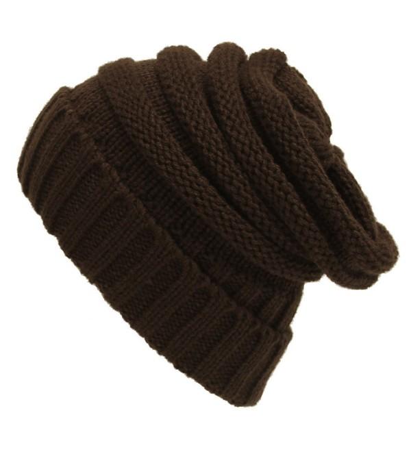Purjoy Trendy Warm Chunky Soft Knit Slouchy Beanie Skully Hat for Men & Women - Brown - CX187OSGLLO