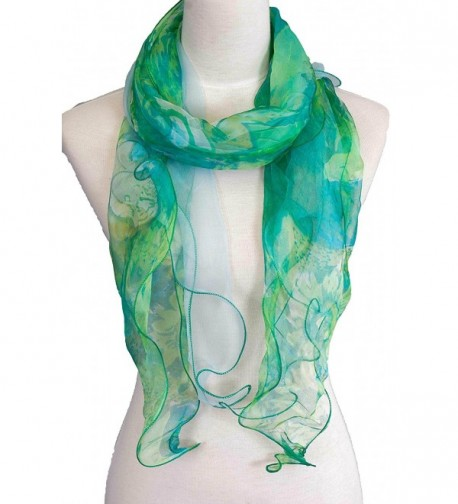 Double Layer 100% Silk- Floral Ruffle Silk Scarf- Summer scarf - Green - CS17Y04L89E