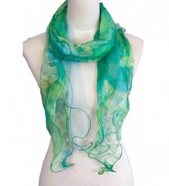 Double Layer 100% Silk- Floral Ruffle Silk Scarf- Summer scarf - Green - CS17Y04L89E