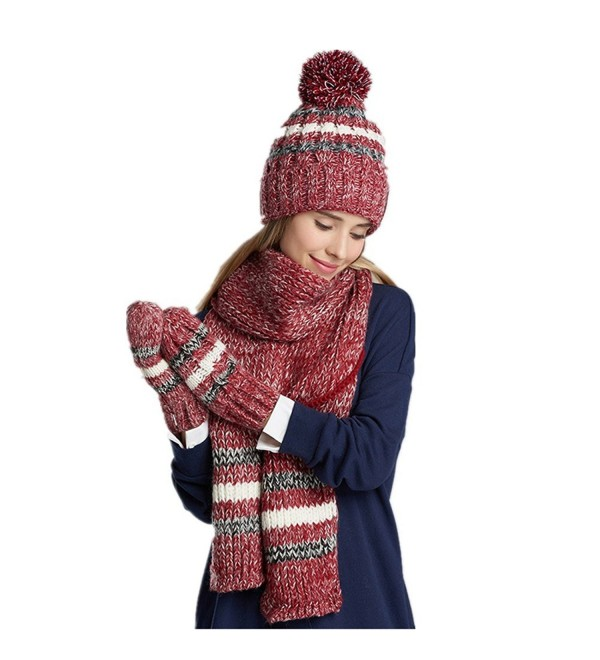 Women Fashion Hat gloves scarf set Winter Warm Knitted Scarf and Hat Set Skullcaps - Red - C812N0JZUOA