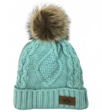 Plum Feathers Soft Thick Faux Fur Pom Pom Fleece Lined Skull Cap Cuff Beanie - Mint Cable - CY1805DCD87