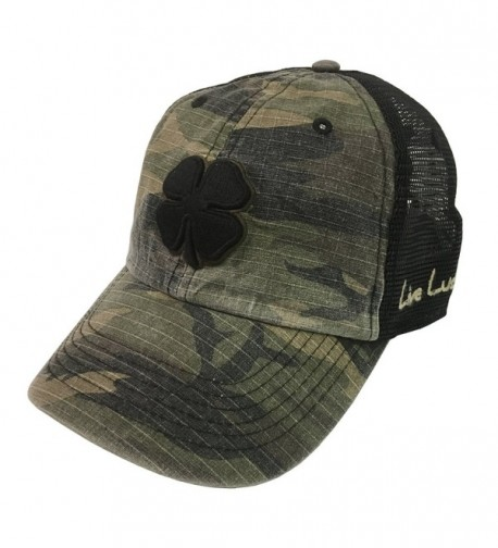 Black Clover Urban Luck Black/Brown/Urban Camo With Black Mesh Snapback Hat - C1189HZGCR2