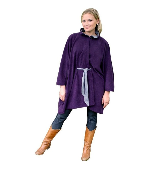 Evelots Town & Country Cape w/ Faux Suede Belt L/XL- Eggplant - CN12I8UJEH5