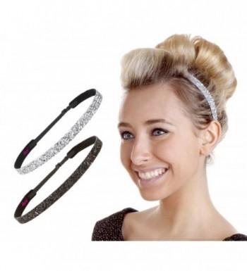 Hipsy Women's Non-Slip Headband Adjustable Glitter 2pk Black & Silver - Skinny Black & Silver 2pk - CC12GPLUKBX