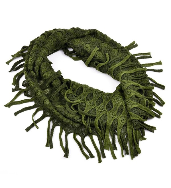 AOLOSHOW Winter Crochet Knit Fringe Infinity Loop Scarf- Various Styles & Colors - Ribbed Knit - Olive & Green - CL184SD25LN