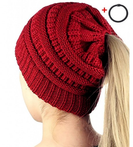 Amandir Womens Ponytail Messy Bun Beanie Hats- Soft Stretch Cable Knit Hat - CC Style - Burgundy - CR1895X50RC