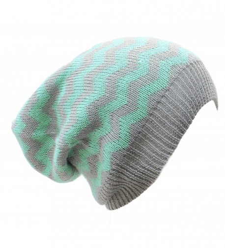 AN Slouchy Beanie Hat Chevron Fashion Knit Cap Chic Zigzag Lightweight Unisex - Mint Gray - C012CZK1NLJ