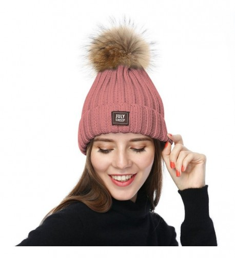 JULY SHEEP Womens Girls Winter Knitted Beanie Hat Real Large Raccoon Fur Pom Pom Bobble Hats - Pink - C3183NAK44Z