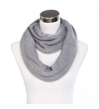 Premium Fine Knit Solid Color Winter Infinity Loop Circle Scarf -Diff Colors - Grey - CD129R2XHFX