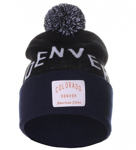 American Cities Unisex USA Fashion Arch Cities Pom Pom Knit Hat Cap Beanie - Denver Black Navy - CN12NGGK25C
