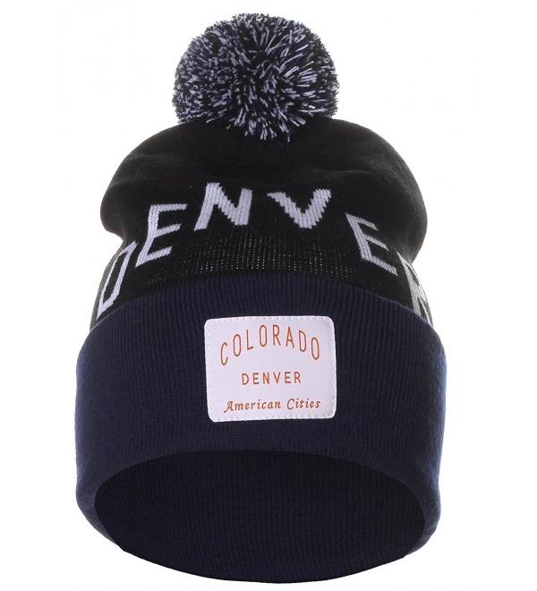American Cities Unisex USA Fashion Arch Cities Pom Pom Knit Hat Cap Beanie - Denver Black Navy - CN12NGGK25C