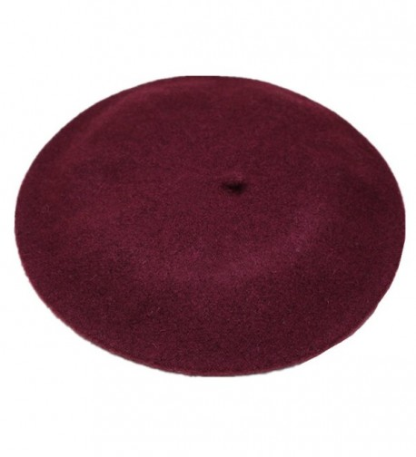 Joyhy Women's Solid Color Classic French Style Beret Beanie Hat - Wine Red - CZ12MXS5B7F