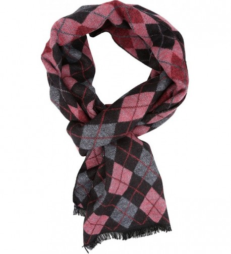 Sakkas Ezel Long Warm Argyle Patterned UniSex Cashmere Feel Scarf - Pink - C112LBFBO6N