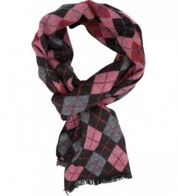 Sakkas Ezel Long Warm Argyle Patterned UniSex Cashmere Feel Scarf - Pink - C112LBFBO6N