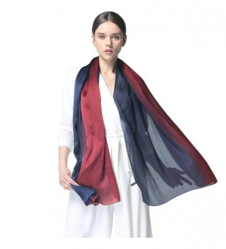 Silk Scarf Women Long Scarves Elegant Soft Wraps Shawl Lightweight Bridal Evening Scarf - Burgundy&blue - C41804MYSXL