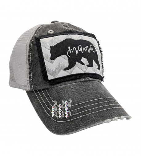 Loaded Lids Women's Mama Bear Embroidered Patch Baseball Cap - Distressedgrey/Crystals - CI18CC4XQ74