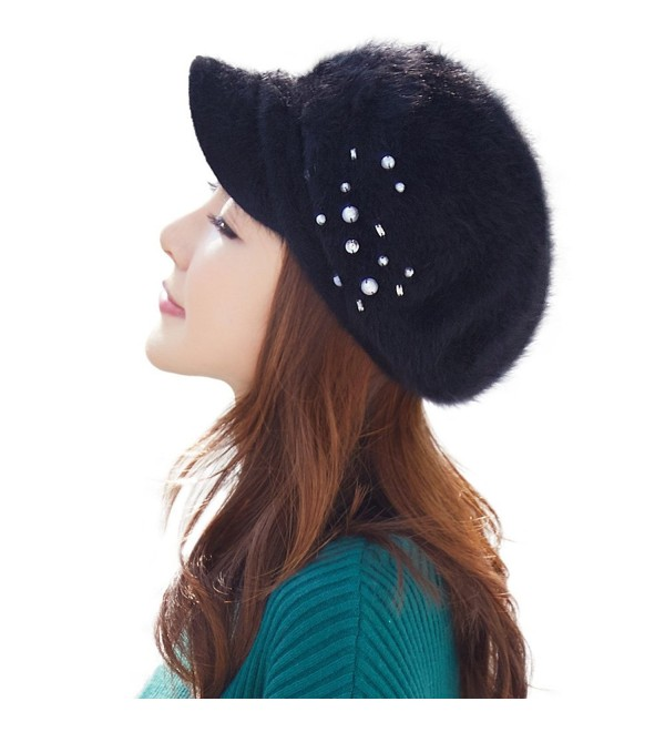 Siggi Womens Newsboy Cap Rabbit-Fur Winter Visor Beret Cap Poofy Back Soft Lined - 89258_black - CY187KDIK8L