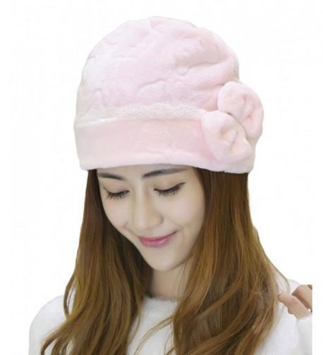 Qiabao Womens Soft Bowknot Sleep Cap Chemo Cancer Hat Turban - Pink - CJ12M7FB2VD