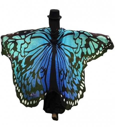 Powerfulline Butterfly Wing Beach Towel Cape Scarf Shawl for Women Christmas Halloween - Blue - CP186EGDS9A