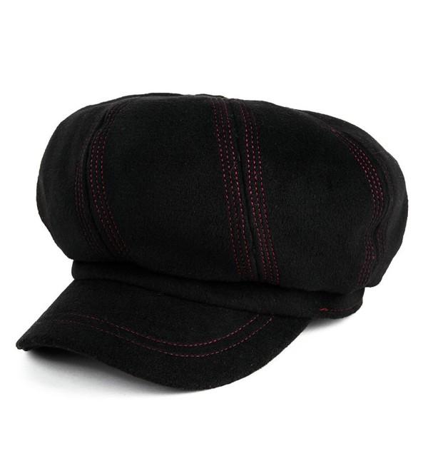 Siggi Ladies Winter Newsboy Cabbie Mod Caps Painter Hat for Women - 88345_Black - CW12MY7FLLD