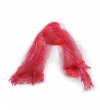 Scarf With Double Layers - OKEER Unisex Solid Color Silk Cotton Fabric Scarves Wraps - Red - CT1840LGURU