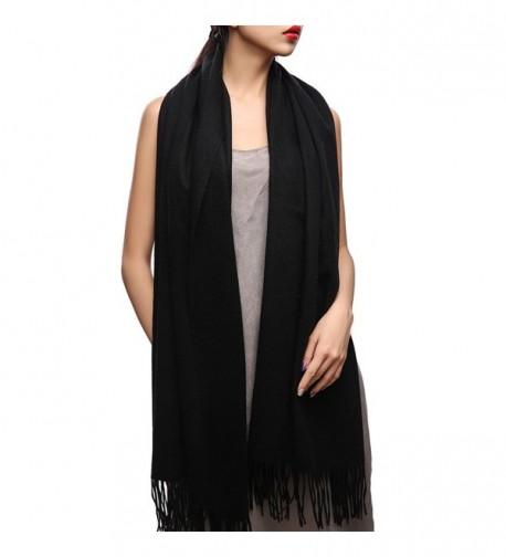 Winter Cashmere Wool Scarf Shawl- Oversized Wrap Scarves For Women FURTALK Designed - Black - CZ17XWDAAMQ
