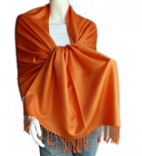 New Best Soft 100% Pashmina Shawl Wrap Stole Scarf (Orange) - CM114ZWY5YX