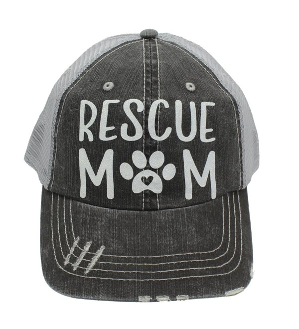 Rescue Mom Dog Cat Paw Print Heart Women Trucker Cap Hat White Glitter - CY185UK0E88
