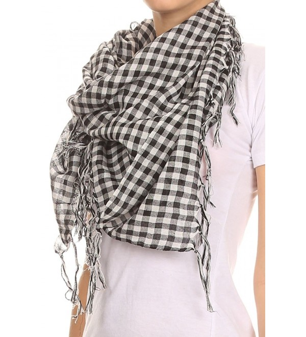 AN Womens Plaid Scarf Check Squares in Buffalo Plaid or Gingham Squares Tassels - Black Gingham - CU1180PV6D9