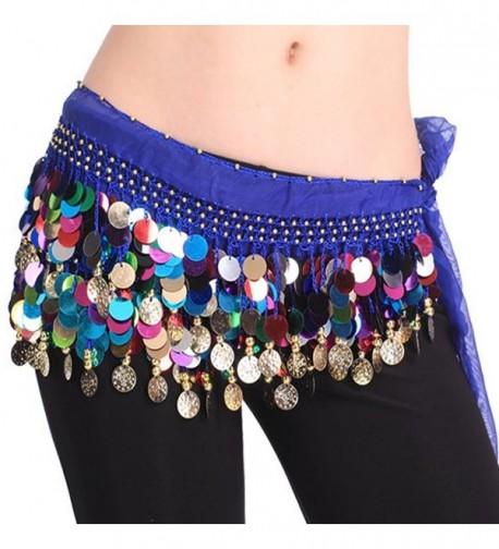 Pilot-trade Women's Belly Dance Hip Scarf Waistband Belt Skirt Mixed Colors Beads - Dark Blue - CM11TXM2MTP