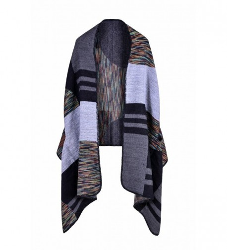 Blanket Scarves Knitted Cashmere Ponchos - 17 Black &White - CP186SA5IMQ