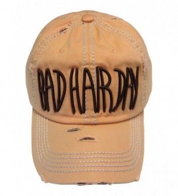 Embroidered Bad Hair Day Washed Vintage Baseball Cap Hat - Peach - CH185M9Z547