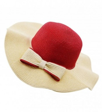 Vegali Summer Beach Sun Hat - Red - C912KHOQB9T
