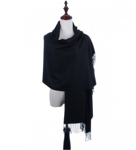 BYOS Versatile Oversized Soft Cashmere Shawl Scarf Travel Wrap Blanket W/ Tassels- Many Colors - Black - C0186H496UN