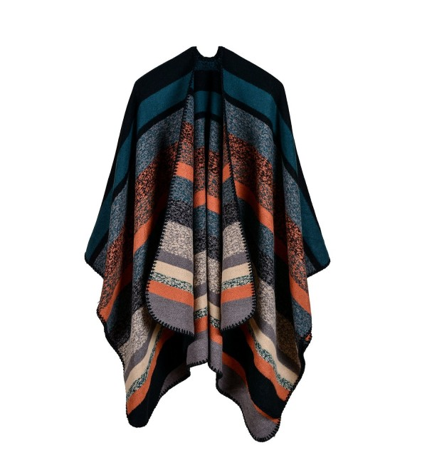 Jelinda Women Blanket Shawl Wrap Poncho Cape Winter Large Warm Camouflage Striped Scarf - 1-dark Green - CU187E9L07T
