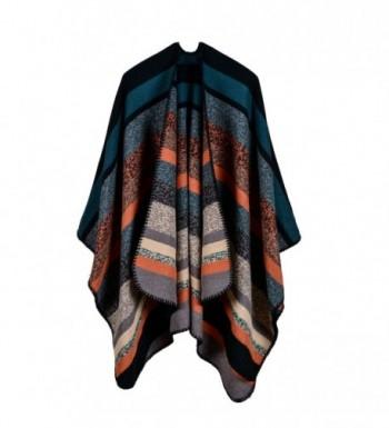Jelinda Blanket Poncho Winter Striped