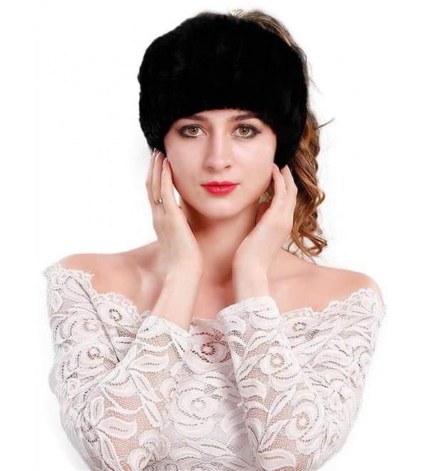 LITHER Women's Rabbit Fur Headband Winter Wrap Cap For Winter Earwarmer Earmuff - Black - CW187IQRYTM