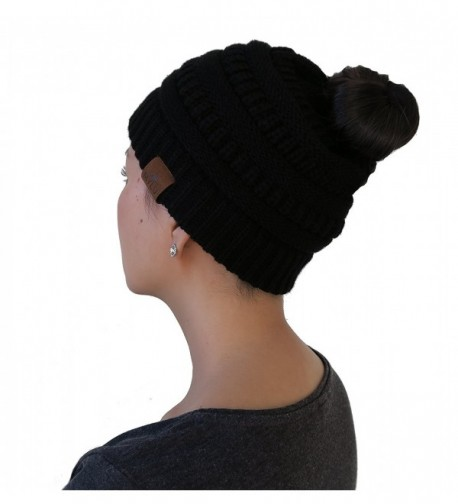 13d93fe6cfe47 Knit Winter Beanie Hat For Ponytail or Buns- Sports- One Size Fits ...