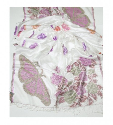 Lovarzi Women's Butterfly Pashmina Scarf - Ladies scarfs - Winter Scarves - White - CB11H0H2P7J