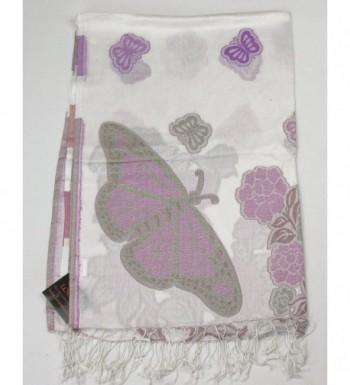 Lovarzi Womens White Butterfly Pashmina